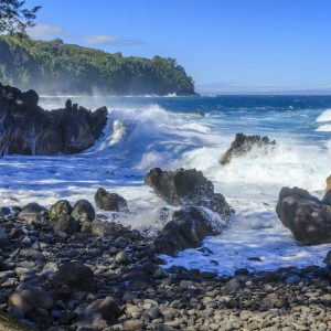 Located on the Big Island's Hamakua Coast (east shore), Laupahoehoe Point is a peninsula covered with coconut palms, grass and black lava rocks on the shoreline, which contrast beautifully with the deep blue ocean