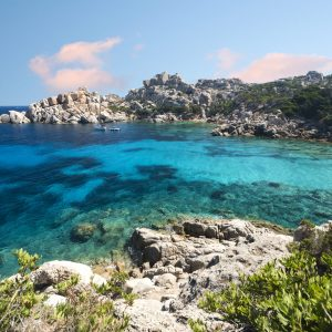 Capo Testa, a beautiful beach in the north of Sardinia with a clear turquoise water