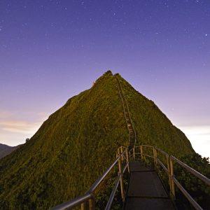 View Of Haiku Stairs Against Sky At Night
